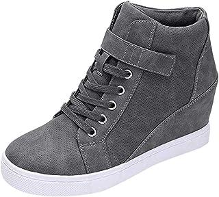 حذاء رياضي نسائي برباط، حذاء نسائي سادة للشتاء لزيادة الدفء في الشتاء
