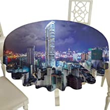 Rectangle Round Tablecloth 70 Inch City,Downtown in Hong Kong Urban View at Night High Rise Buildings Modern Business District Multicolor Great for,Outdoors & More