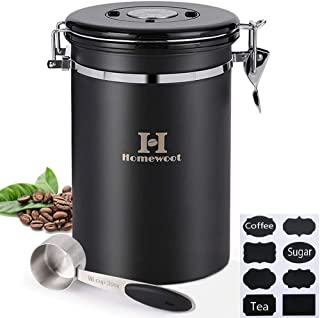 Airtight Coffee and Food Storage Canister (64 FL oz), Stainless Steel Can Container set with Scoop for Coffee Bean, Tea, Flour, Sugar