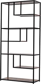 HOMCOM Wood Shelf Bookcase Industrial Style Stand 6-Staggered Shelf Living Room Display Rack Organiser