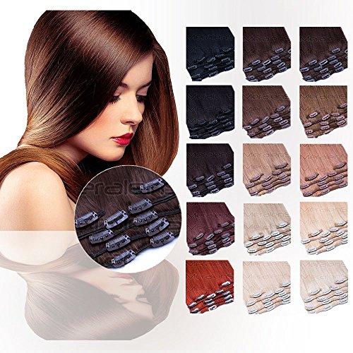 Clip In Extensions Echthaar 7tlg SET - 55cm in #60 Weißblond 7 teiliges Haarteil für komplette Haarverlängerung - Hochwertige weissblonde 100% Remy Echthaar Clip-In Extension GlamXtensions