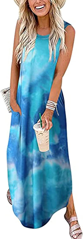GCETTIC Dresses for Women Casual, Summer Women's Heart Printed Maxi Dress Loose Sleeveless Plus Size T-Shirt Long Dress