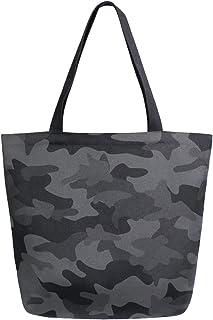 Mnsruu Mnsruu Einkaufstasche aus Segeltuch, wiederverwendbar, Schulter-/Handtasche, Dunkelschwarz, Camouflage, abstrakt, geometrisch, Reisetasche, College-Büchertasche für Frauen und Mädchen