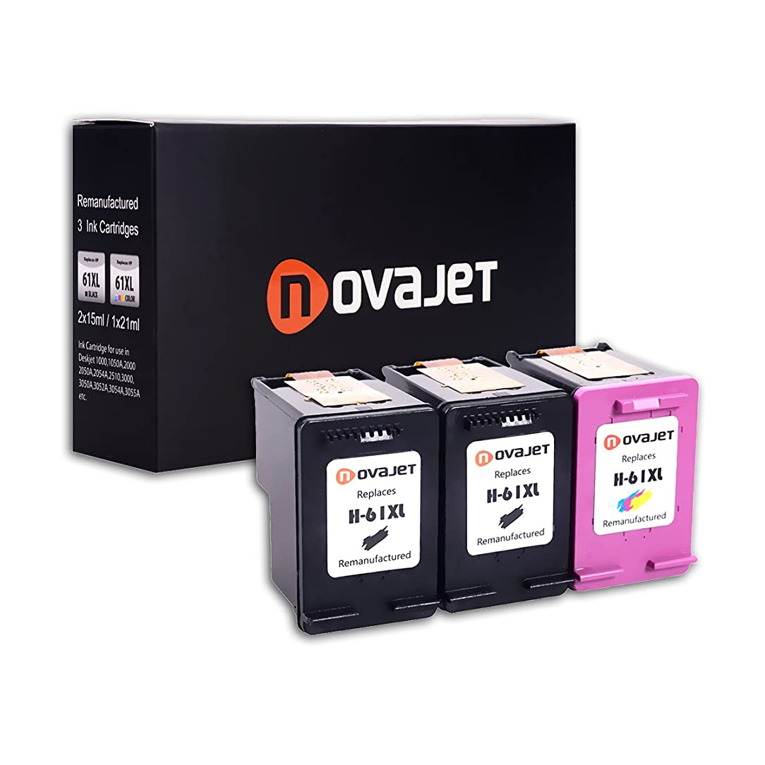 Novajet 3 Pack Remanufactured Ink Cartridge Replacement For HP 61XL 61 XL High Yield (2 Black/1 Tricolor) Used In Officejet 4630 4632 4635 Deskjet 1010 2549 2540 2542 3050 Envy 5530 4500 5530 4501 xsh29422680