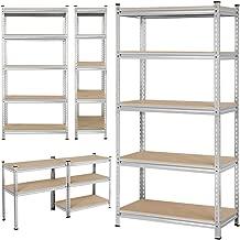 Topeakmart 73.2 inches Heavy Duty Garage Shelving Storage Shelf Steel Shelving Unit 5 Tier Deep Storage Rack Display Stand