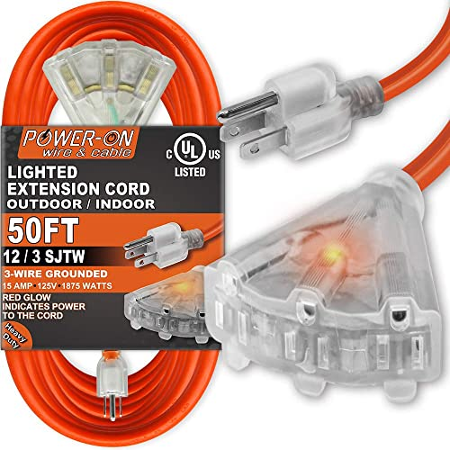 kasonic 50 feet 3 outlet 12/3 sjtw outdoor extension cord - ul listed
