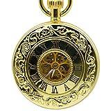 SHKUU Reloj Bolsillo Unisex Retro Caja Dorada Esqueleto Vintage Número Romano Flor Dial Hombres Reloj Bolsillo mecánico con Cadena Regalo