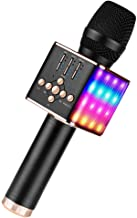 Muvteens Wireless Bluetooth Karaoke Microphone, Portable Hendheld Microphone Speaker Singing Machine with Led Lights for K...