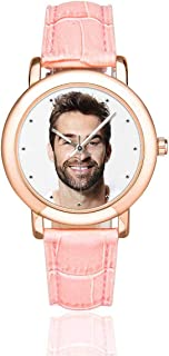 Personalized Graphic Photo Face Watch Rose Gold-Plated Pink Leather Strap Watches for Women/Your Girlfriend/Wife