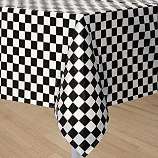 GIFTEXPRESS 2-Pack Black & White Checkered Flag Table Cover Party Favor/Checkered Tablecloth/Disposable Checkered Racing Table Cover/Check Table Cover