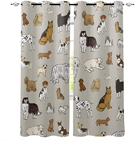 Zpangg 3d Printing Curtains Cartoon Dog Pet Lover Polyester Material Fabric For Bedroom Decor Home Door Decoration Kitchen Living Room 2 Panels 150 166cm Amazon Co Uk Kitchen Home