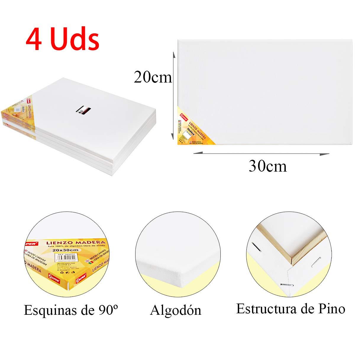 ALLPER Pack de 4 lienzos 50 x 60 cm de 100% algodón apto para óleo ...