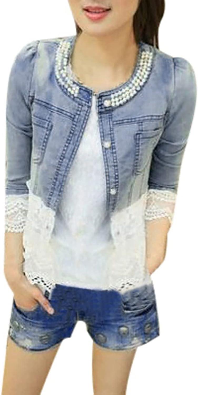 Women Casual Lace Half Sleeve Short Jean Coats Jacket Fashion Pearl Denim Outwear Overcoat