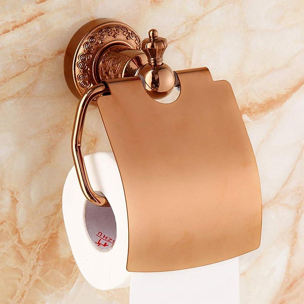 バンドチーム言うまでもなくZZLX 紙タオルホルダー、ヨーロッパの緑ブロンズゴールドローズゴールドトイレットペーパーホルダー浴室のティッシュボックス ロングハンドル風呂ブラシ (色 : ローズゴールド ろ゜ずご゜るど)