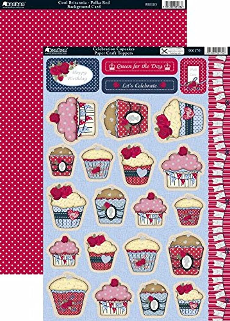Kanban Celebration Cupcakes Printed Foiled Die-Cut Toppers and Background Card, Pack of 5