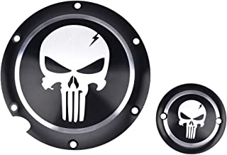 Frenshion Compatible for Motorcycle Black Chrome Skull Timing Accessories Engine Derby Timer Cover For Harley Sportster Iron XL 883 1200 04-14 (Pack of 2pcs)