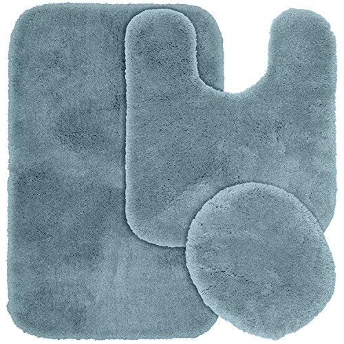 Garland Rug 3-Piece Finest Luxury Ultra Plush Washable Nylon Bathroom Rug Set, Basin Blue