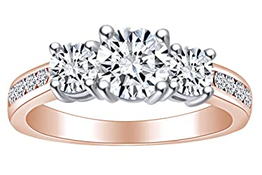 1.97 Carat (Cttw) Round Shape White Natural Diamond Three Stone Engagement Ring in 14k Solid Gold