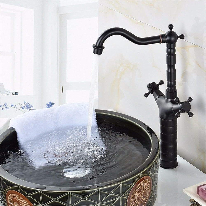FERZA Home Waschbecken-Mischbatterie Badezimmer-Küchen-Becken-Hahn auslaufsicher Wasser sparen Schwarzes antikes volles Kupfer hei und kalt