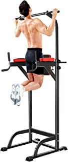 ANCHEER Power Tower, Heavy Duty Pull Up Dip Station, Adjustable Strength Training Power Tower Fitness Workout Exercise Machine