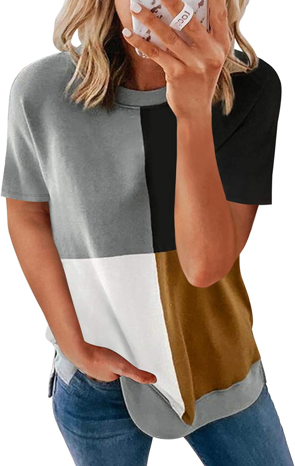 Ecrocoo Womens Striped Color Block Short Sleeve Causal Blouses T Shirts Tops