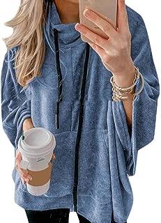 Womens Cowl Neck Casual Sweatshirts Drawstring Long Sleeve Top