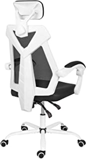 AuAg Home Office Chair Computer Desk Chair High Back mesh Rolling Chair Lumbar Support Ergonomic Adjustable Swivel Gaming Chair -White