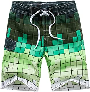 Vickyleb Mens Short Swim Trunks Boys Quick Dry Broad Shorts Casual Printing Patchwork Pants Swim Suit with Mesh Lining