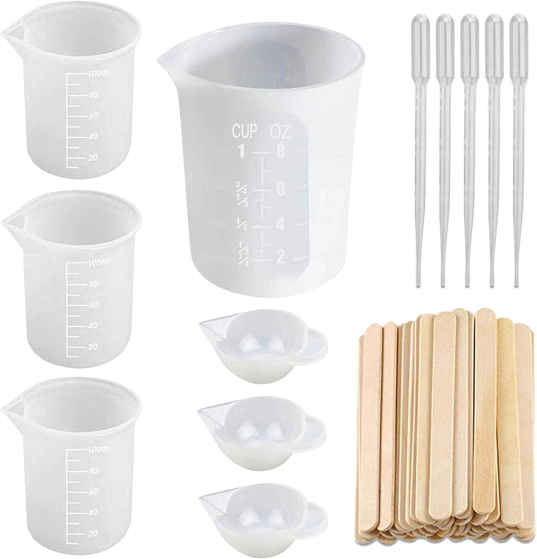 PHOGARY Vasos Medidores de Silicona para Resina Epoxi de 250ml, 3piezas 100 ml, 20 Varilla para Revolver Se Utiliza para Mezclar Resina Epoxi Teñir