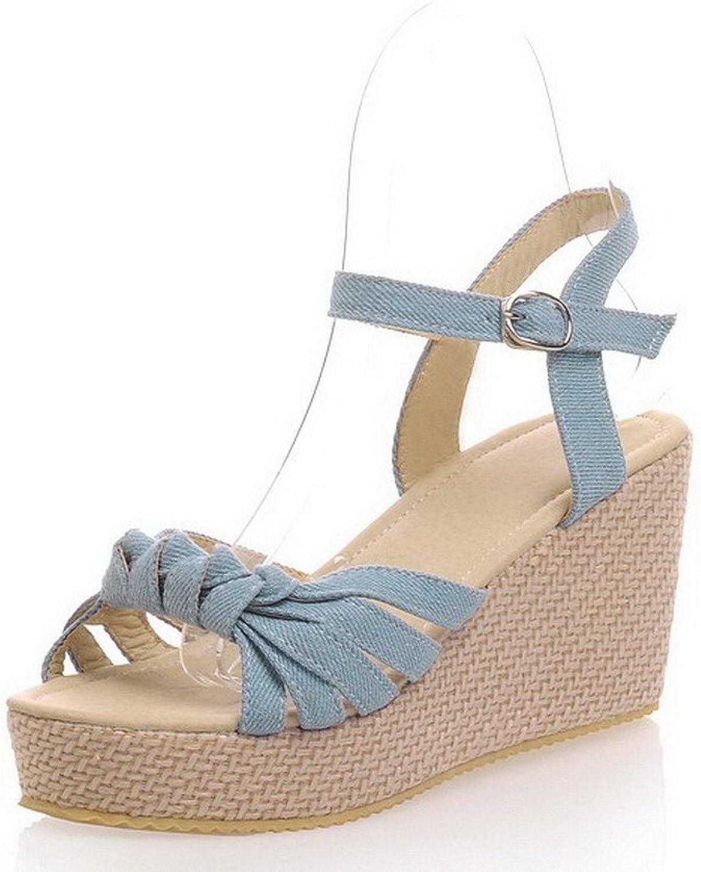 WeenFashion Women's Denim High-Heels Open Toe Solid Buckle Sandals, CA18LA03245