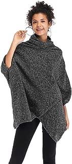 Women Casual Women Pullovers Sweater Funnel Sleeves Batwing Uneven Hem