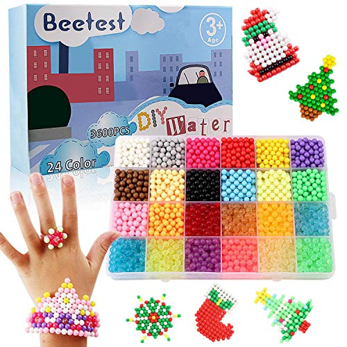 Abalorios Cuentas de Agua, Cuentas de Colores, 3600 PCS 24 Colores Craft Sticky Beads para Niños...