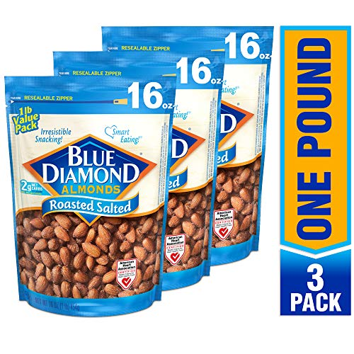 Blue Diamond Almonds Roasted Salted 16 Ounce Pack of 3
