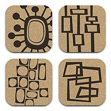 8 Track Romeo Mid Century Modern Retro Abstract Cork Drink Coaster Gift Set of 4
