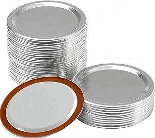 24Pcs Regular Split-Type Lids,Stainless Steel Lids For Mason Jar Canning Lids Regular Mouth Reusable Leak Proof Storage So...