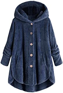 Coats for Women Long Length,Winter Coats Plus Size Thermal Faux Fur Fleece Jacket Sherpa Lined Fluffy Buttons Down Cardigan