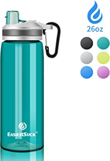 Easiestsuck BPA Free Reusable Water Bottle - with Straw & Silicone Mouth,  Leak Proof One Click Flip Top, Fitness and Outdoor Enthusiasts Drinking Bottle, 26 oz