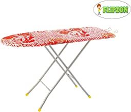 Flipzon Self Standing Ironing Board with Folding Feature, (Color and Design of Cloth Will Different) Multi Color