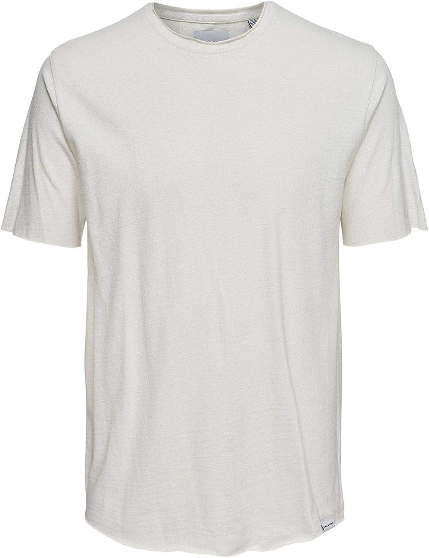 ONLY & SONS Men's 22010337WHITE White Cotton T-Shirt