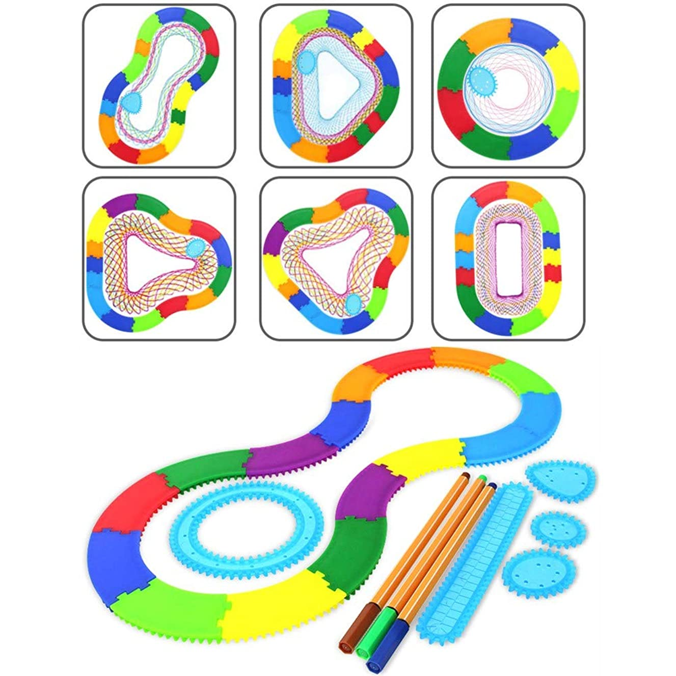 Ipienlee Magic Ruler 33pcs ABS Drawing Toys Set Interlocking Gears Wheels Drawing Accessories Creative Educational Toy for Children