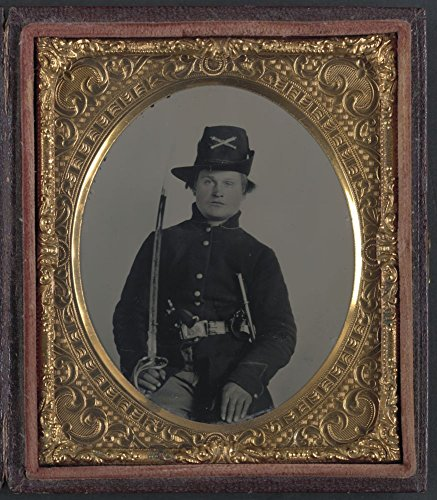Historic Photos 1861 Photo Unidentified soldier in Union frock coat and Hardee hat with Model 1860 Light Cavalry saber and Colt Army Model 1860 revolver