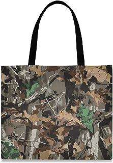 DOSHINE Einkaufstasche aus Segeltuch, mit Camouflage-Muster, wiederverwendbar, Einkaufstasche, Schulranzen, Handtasche für Damen, Mädchen
