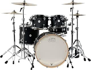 DW Design Series 5-Piece Lacquer Shell Pack with Chrome Hardware Satin Black