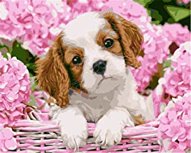 Painting by Numbers DIY Oil Painting for Adult Pink Flowers, Animals, Dogs Canvas Print Wall Art Decoration 40X50Cm