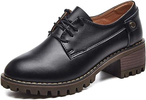 AJUNR Femmes Loisirs Nouveau Style 5 Cm Accrues Petites Chaussures en Cuir Milieu Talon Souliers Cuir Les Chaussures De Femmes.