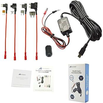 MEKNIC Dash Cam Hardwire Kit 11.5FT Mimi USB Hardwire Kit for Car Dash Camera,12V-30V to 5V 2A Mini USB Dash Cam Hardwire Kit with Battery Protection,4 Fuse Tap Cables (Operation Manual Include)
