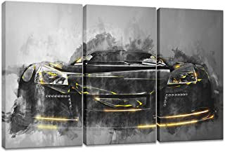 Innopics 3 Piece Canvas Wall Art Super Sports Car Picture Giclee Print Fashion Cool Poster Painting Abstract Black and White Framed Illustration Artwork for Home Office Living Room Decor 36