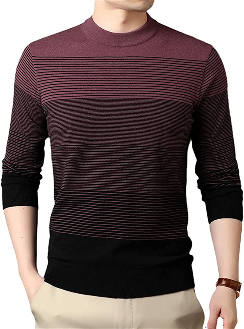 EGFIOKMJHT Knit Pullover Striped Knitted Sweater Men Winter Casual Autum Jumper Men Clothing