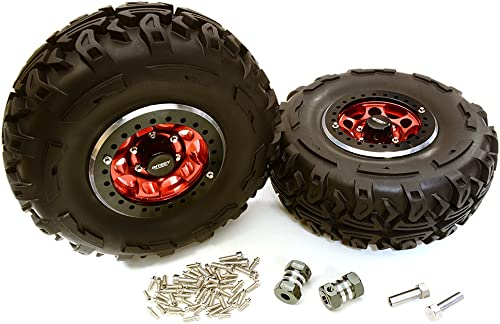 Integy RC Model Hop-ups C27037rot 2.2x1.5-in. High Mass Alloy Wheel, Tires & 14mm Offset Hubs for 1 10 Crawler