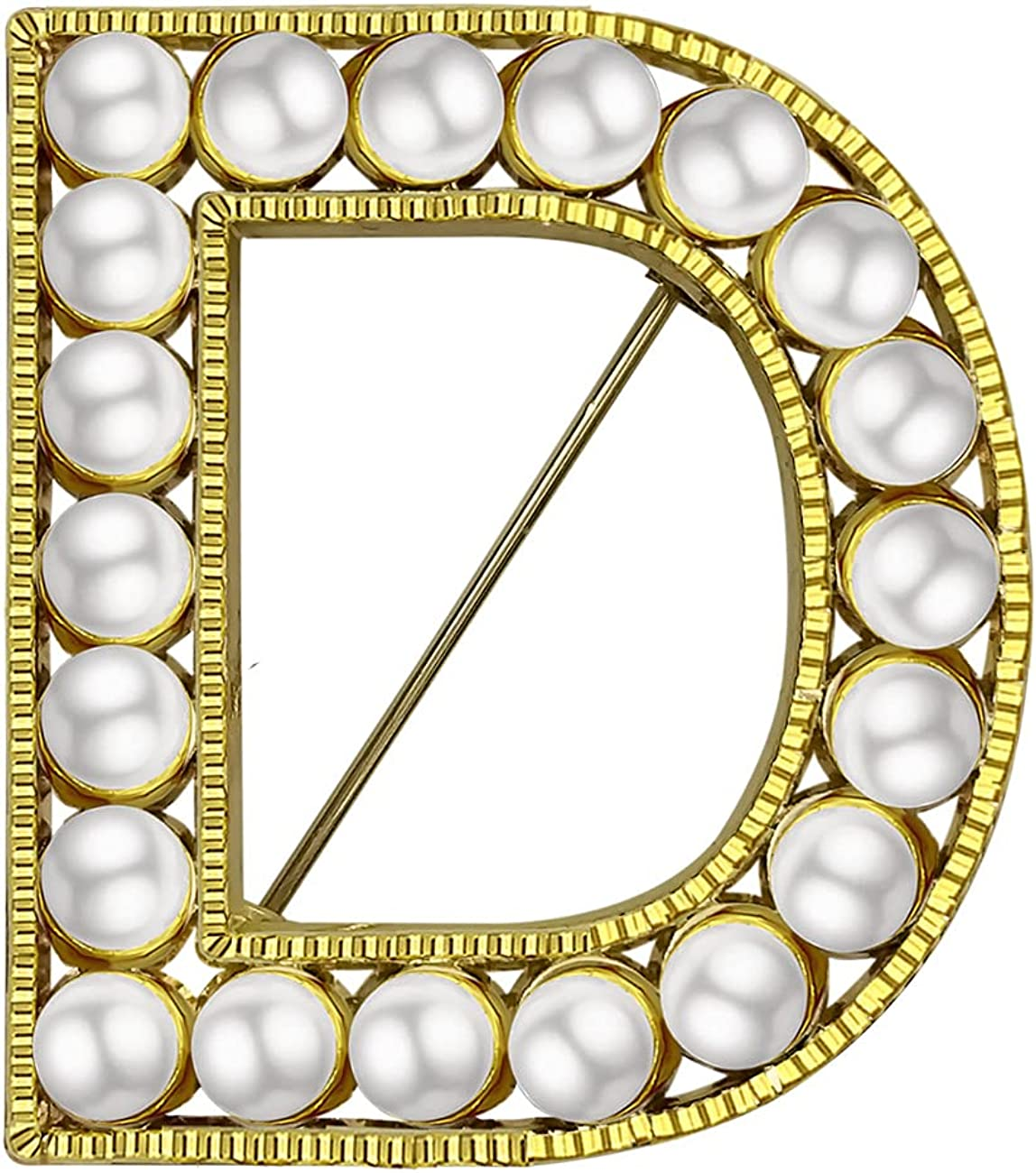 XGALBLA Letter Brooch Pins Letters(A-Z) Plated Metal Simulted Pearl Brooches for Women Girls Inspired Gift(Gold Tone)